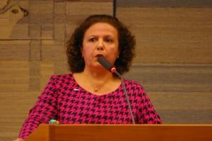 Fahimeh håller tal i kf